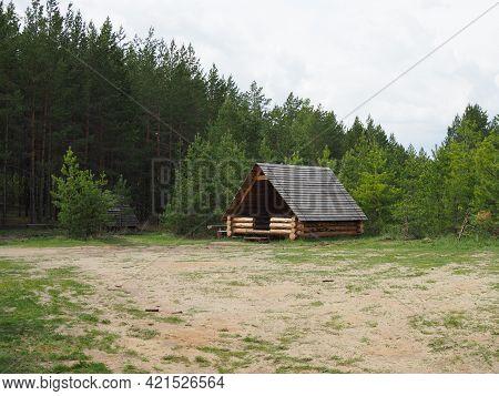 Wooden Gazebo On Summer Forest Scene. Gazebo Forest View. Forest Gazebo Scene.