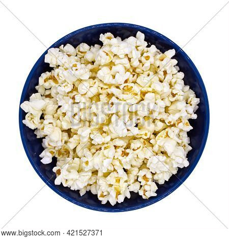 Popcorn In Bowl Isolated On White Background Top View Close-up Photo. Movie Theater. Cinema. Watchin