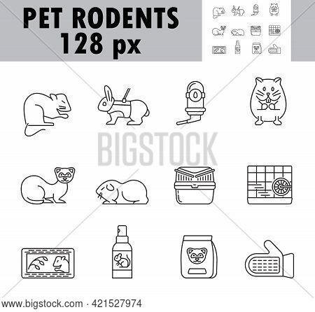 Pet Rodents Icon Set Vector. Ferret, Hamster, Rabbit Are The Symbols Shown.