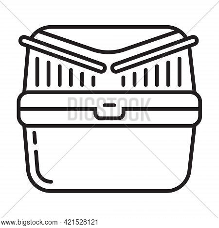 Pet Carrier Basket Icon Vector In Line Style Box To Transport Rodents, Cats