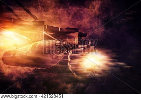 Image Of A Firing Machine Gun Attached To A Combat Helicopter. Military Action Concept. War And Poli