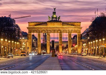 The Famous Brandenburg Gate In Berlin Before Sunrise