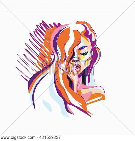 Hand-drawn Young Beautiful Girl With Nude Makeup And Unusual Red Hair. Fashion Illustration Of A Sty
