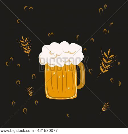 Foamy Beer On Black Background Festival Glass Goblet