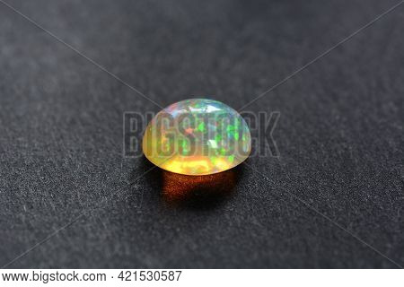 Natural Full Of Sparkle Gemstone Multi Color Play Transparent Oval Cabochon Ethiopian Welo Opal. Gre