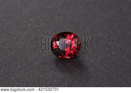 Natural Deep Saturated Rich Red Rhodolite Garnet Loose Gemstone. Oval Faceted, Colorful Semiprecious