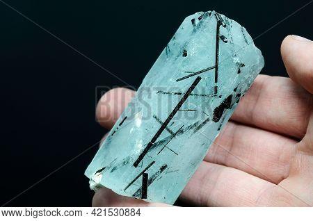 Natural Blue Aquamarine Huge Hexagonal Raw Rough Translucent Crystal With Black Tourmaline Crystals