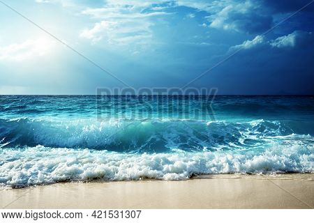 Waves At Seychelles Beach High Quality Image