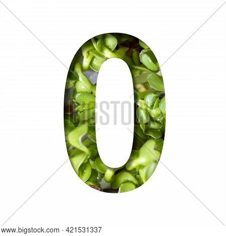 Font On Micro Greenery.the Digit Zero, 0 Cut Out Of Paper On The Background Of Sprouts Of Fresh Brig