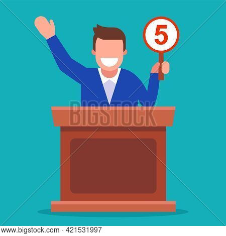 Competition Where The Jury Raises The Signs And Gives Marks. Flat Vector Illustration.