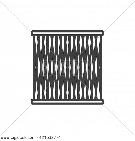 Air Filter Icon. Simple Line Drawing Of A Round Air Purification Filter With A Mesh Grill Over The M