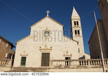 Church Of Saint Peter In Supetar, Croatia, Front View