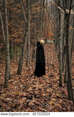 Halloween And Horror Concept.death Suit.skull Halloween Costume.sorrow Symbol. Autumn Traditional Ma