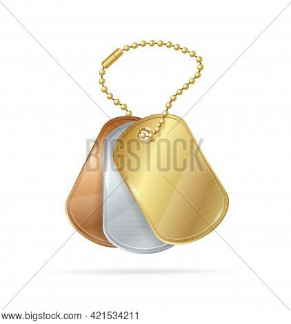 Realistic Detailed 3d Chain Beads Ball With Identity Tag Set. Vector