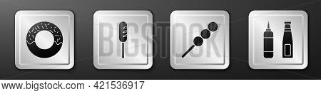 Set Donut, Fried Sausage, Meatballs On Wooden Stick And Sauce Bottle Icon. Silver Square Button. Vec