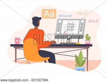 Graphic Design Professional In The Middle Of Workflow In Graphic Editor Application. Home Office Con