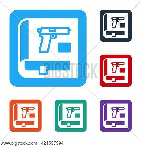 White Book With Pistol Or Gun Icon Isolated On White Background. Police Or Military Handgun. Small F