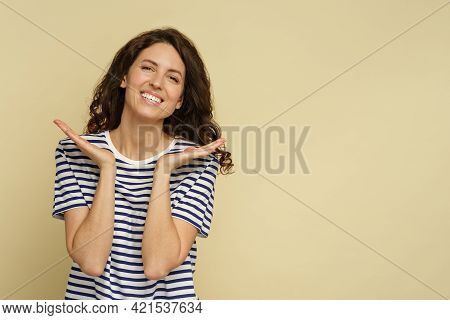 Healthy Woman In 30s Show Perfect Hydrated Skin And Beaming White Smile, Closeup Portrait Over Studi