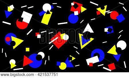 Colorful Flat Geometric Shapes Randomly Arranged On A Black Background. Abstract Geometric Backgroun