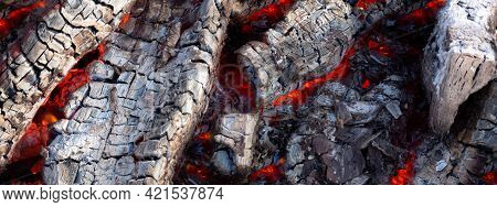Glowing Red Hot Charcoal. Beautiful Charcoal Background