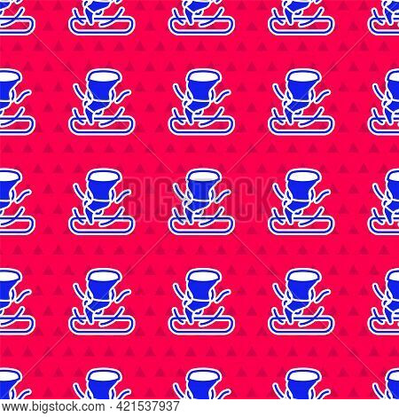 Blue Tornado Icon Isolated Seamless Pattern On Red Background. Cyclone, Whirlwind, Storm Funnel, Hur
