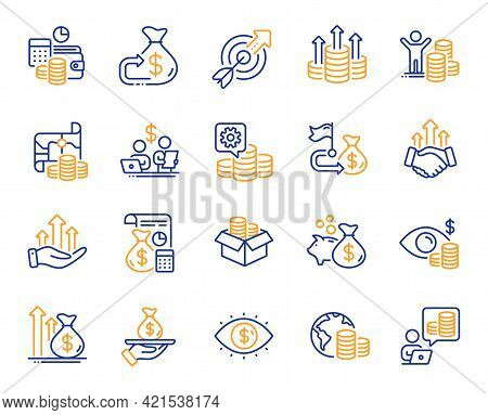 Finance Line Icons. Accounting Coins, Budget Investment, Trade Strategy Icons. Finance Management, B