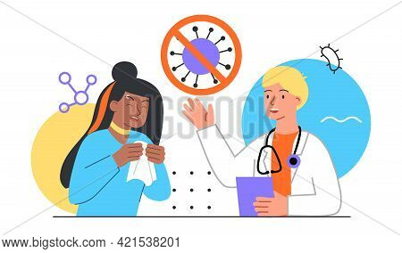 Sick Allergy Patient Visit Doctor. Allergen Drugs Pharmacy Therapy And Tissue Help. Flat Abstract Me