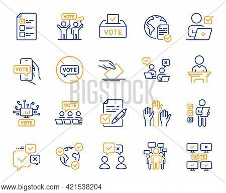 Voting Line Icons. Public Election, Vote Box, Ballot Paper Icons. Candidate, Politics Voting And Peo
