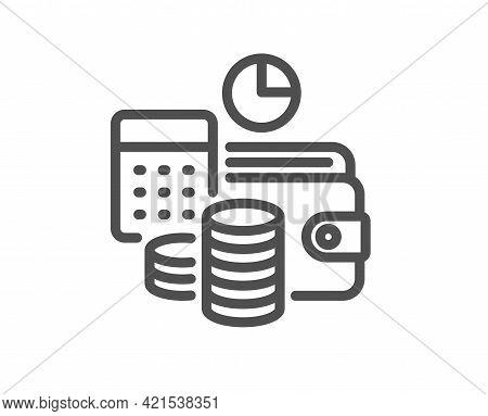 Budget Accounting Line Icon. Finance Management Sign. Business Economy Symbol. Quality Design Elemen