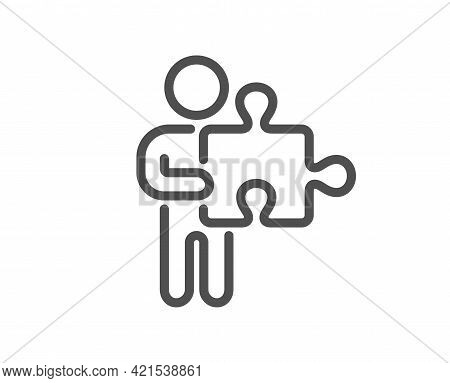 Man With Puzzle Line Icon. Jigsaw Piece Sign. Business Challenge Symbol. Quality Design Element. Lin