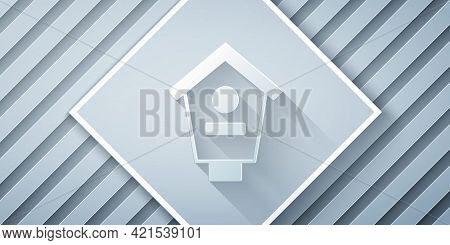 Paper Cut Bird House Icon Isolated On Grey Background. Nesting Box Birdhouse, Homemade Building For