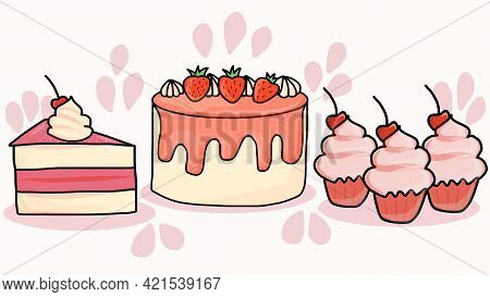 Collection Of Beautiful Cakes And Cupcakes. Cake Set. Vector Illustration Eps10