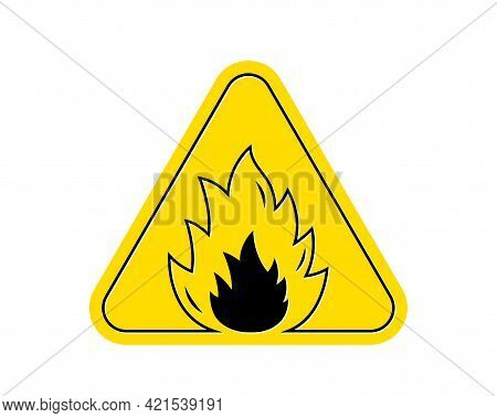 Yellow Fire Attention Icon. Isolated Triangle Flammable Attention Sign. Flame Alert Warning Icon. Fi