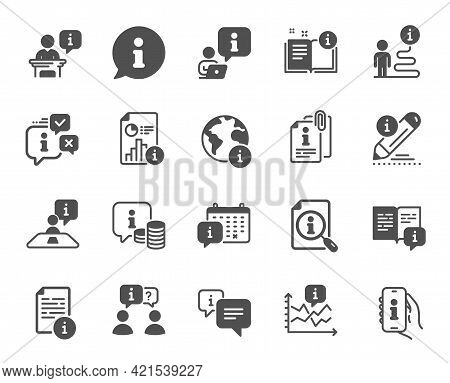 Info Center Icons. Reception Information, Journey Path, Guide Book. Call Center, Faq Chat Bubbles, I