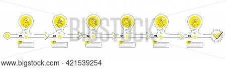 Timeline With Lamp Light Bulbs And Icons. 6 Steps Idea Journey Path Chart Of Business Project Proces