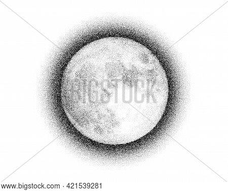 Dotwork Moon Night Pattern Vector Background. Sand Grain Effect. Black Noise Stipple Dots Satellite.