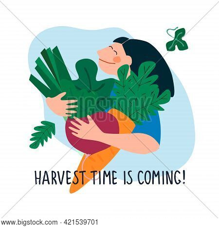 Happy Woman Holding Giant Beetroot, Carrot, Leek. Harvest Time Is Coming Quote. Harvesting, Fresh Ve