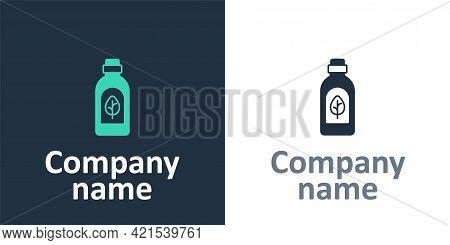 Logotype Essential Oil Bottle Icon Isolated Logotype Background. Organic Aromatherapy Essence. Skin