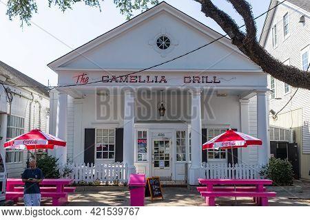 New Orleans, La - September 10: Straight On Shot Of Entrance Of Historic Camellia Grill Restaurant I