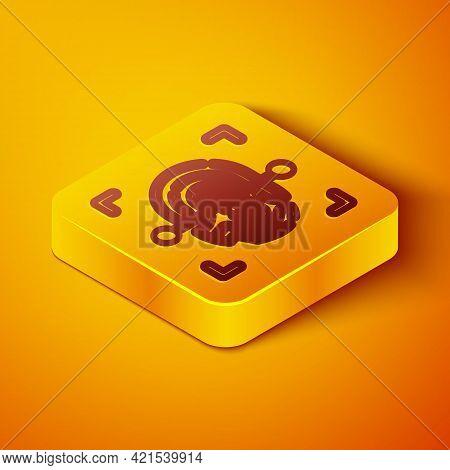 Isometric Line Fingerprint Icon Isolated On Orange Background. Id App Icon. Identification Sign. Tou