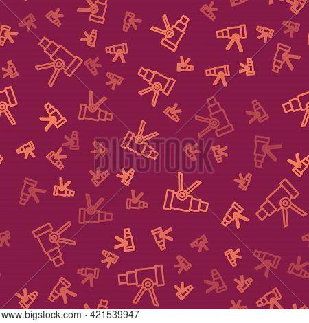 Brown Line Telescope Icon Isolated Seamless Pattern On Red Background. Scientific Tool. Education An