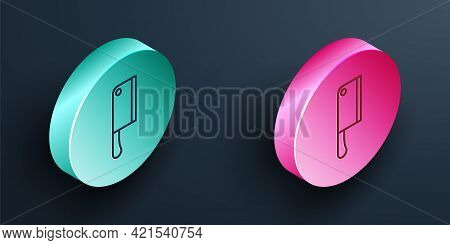 Isometric Line Meat Chopper Icon Isolated On Black Background. Kitchen Knife For Meat. Butcher Knife