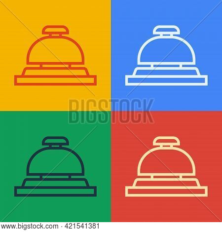 Pop Art Line Hotel Service Bell Icon Isolated On Color Background. Reception Bell. Vector