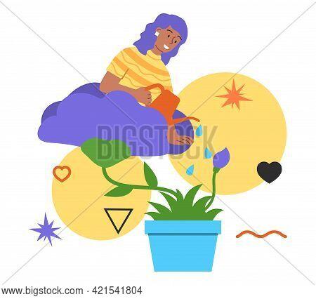 Woman In Flowerpot Watering Herself. Self Development, Personal Growth, Self Improvement. Flat Abstr