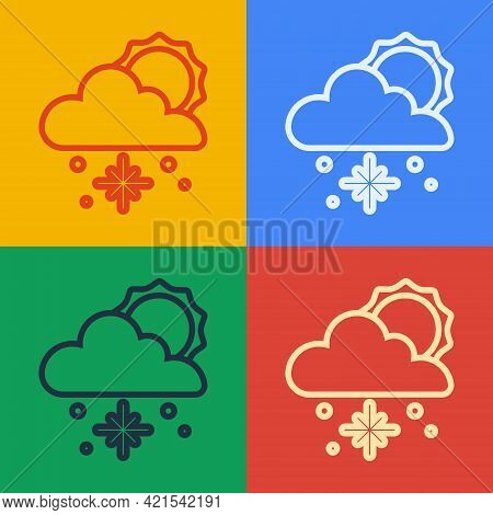 Pop Art Line Cloud With Snow And Sun Icon Isolated On Color Background. Cloud With Snowflakes. Singl