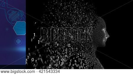 Composition of exploding human bust formed with binary coding and dna strand. global science, technology and data processing concept digitally generated image.