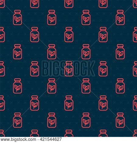 Red Line Fertilizer Bottle Icon Isolated Seamless Pattern On Black Background. Vector