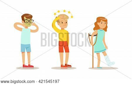 Children Suffering From Different Symptoms Set, Boy And Girl Having Nausea, Dizziness, Bone Fracture