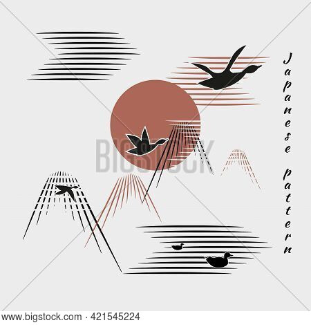 Flock Of Birds, Ducks, Geese Fly To Bright Sun, Mountains, Clouds, Lake, River. White Background, Bl