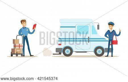 Male Courier Characters Set, Delivery Men In Uniform Delivering Parcels Cartoon Vector Illustration